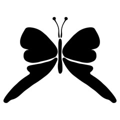 Vector black and white  illustration of insect. Butterfly isolated on the white background. Hand drawn decorative graphic vector logo, icon, sign, symbol, illustration.