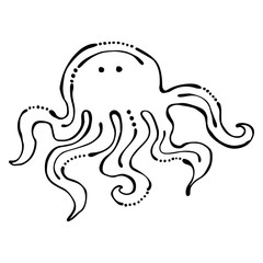 Vector black and white  illustration. Octopus isolated on the white background. Hand drawn contour lines and strokes. Marine  logo, icon, sign, tattoo. Graphic vector illustration.