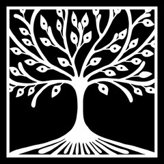 Vector hand drawn illustration, decorative ornamental stylized tree. Black and white graphic illustration isolated on the white background. Inc drawing silhouette. Decorative artistic ornamental wood