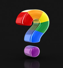 Multi colored Big sign of question. Image with clipping path