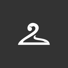 Hanger logo on black background. Vector icon