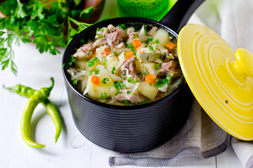 Turkey soup with vegetables