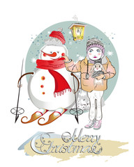 Christmas card with a Girl in a knitted hat and a Snowman skiing. Vector illustration.