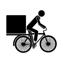 man riding a bicycle with a box icon over white background. delivery and shipping design. vector illustration