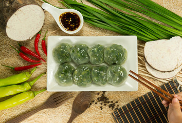 Steamed Dumpling stuffed with Garlic Chives and Taro and bamboo