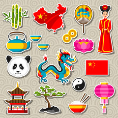 China icons set. Chinese sticker symbols and objects