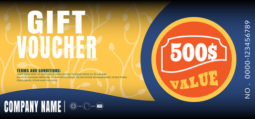 Vector illustration of gift voucher with label for sales promotion.