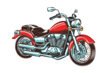 Hand-drawn vintage motorcycle. Classic chopper.