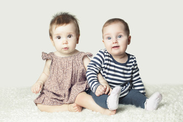 Two Cute Baby. Lovely Friends