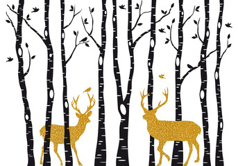 Birch trees with gold Christmas reindeer, vector