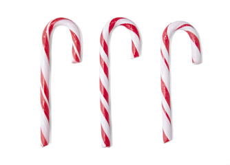 Red stripe candy canes isolated on a white background