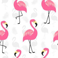 Beautiful seamless pattern with pink flamingo