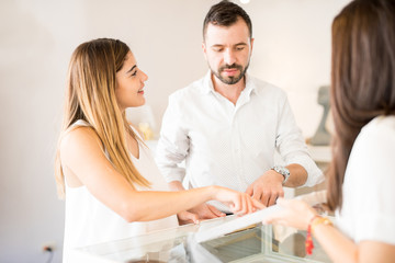 Couple buying jewelry together