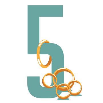 Five golden rings. from the song about the twelve days of Christmas. EPS 10 vector.