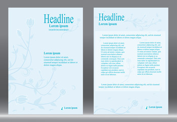 Flyer design, Brochure template abstract vector blue background.