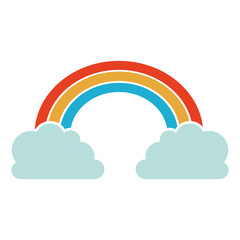 colorful rainbow and clouds icon over white background. vector illustration