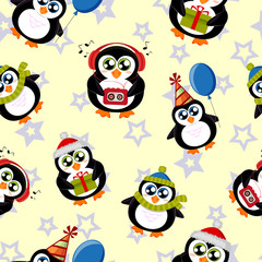 Seamless pattern with cute penguins and stars