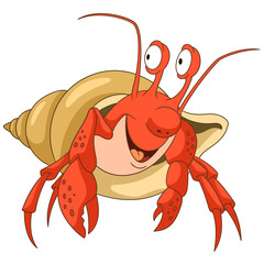Cute and happy cartoon hermit crab with a shell, isolated on white background. Childish vector illustration and colorful book page for kids.
