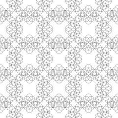 Seamless pattern of circles and squares on a white background.