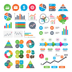Business charts. Growth graph. Business icons. Graph chart and case signs. Dollar currency and gear cogwheel symbols. Market report presentation. Vector
