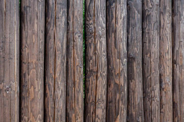 A fence made of upright standing pine logs