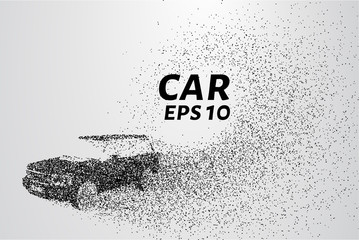 Car from the particles. Car consists of small circles and dots. Vector illustration