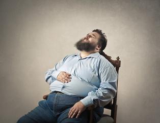 Sleeping fat man