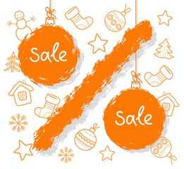 Christmas sale, percent, orange, white background. Orange Christmas balls in the form of percentage. Color flat illustration on white background. Vector picture.