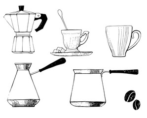 Set coffee dishes: coffee pot, traditional coffee pot, cups and coffee beans. For coffee house, restaurant menu.