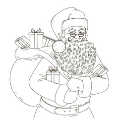 Black and white picture Santa Claus with a bag of gifts.