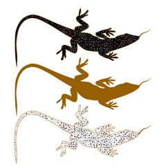 Abstract image of Sand lizard agilis. Logo set.