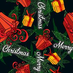 Gift box, vector image seamless background. Seamless pattern with marijuana leafs.