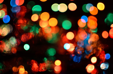 Holiday blurred colorful bokeh background