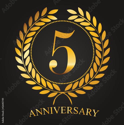 5 Years Anniversary Golden Label 5th Anniversary Logo Celebretion