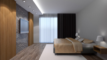 Bedroom house in the forest. 3d interior rendering.