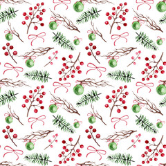 Watercolor Berries, Tree Branches and Christmas Ball Seamless Pattern