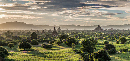 Wall Murals Bestsellers Panoramic view of Bagan plains with pagodas during sunset, Myanmar