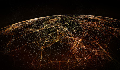 Global International Connectivity Background/Connection lines Around Earth Globe, Futuristic Technology  Theme Background with Light Effect