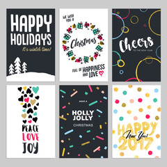 Christmas and New Year flat design greeting cards set. Hand drawn vector illustrations for greeting cards, website and mobile banners, marketing material.