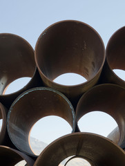 pipes, pipe yard, steel pipes, metal, industrial pipes, stacked piprs