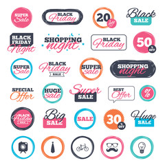 Sale shopping stickers and banners. Hipster photo camera with mustache icon. Glasses and tie symbols. Bicycle family vehicle sign. Website badges. Black friday. Vector