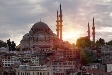 The beautiful Suleymaniye mosque in Istanbul, Turkey
