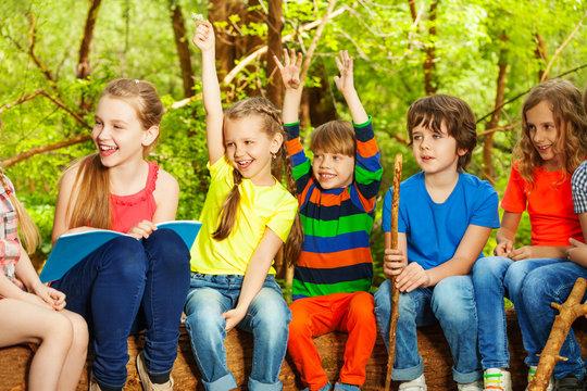 Happy children having fun in the summer camp