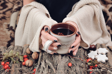 Female hands in warm clothes holding a ceramic cup of hot tea on a wood bark with some rose hips fruits