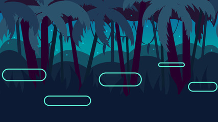 Seamless cartoon nature landscape with different platforms and separated layers for games.