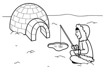 Coloring page - Eskimo igloo fishing