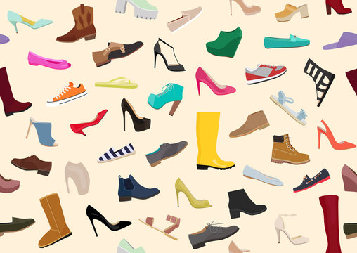 Light women / woman shoes pattern. Set with different types of women's / woman's shoes flat