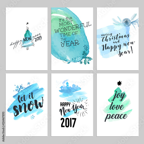 Christmas And New Year Hand Drawn Greeting Cards Set Watercolor Vector Illustrations For Greeting Cards