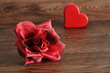 Valentine's Day. A red heart with a red rose