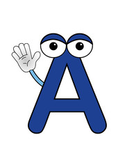 Colored coloring page - Letter A waving